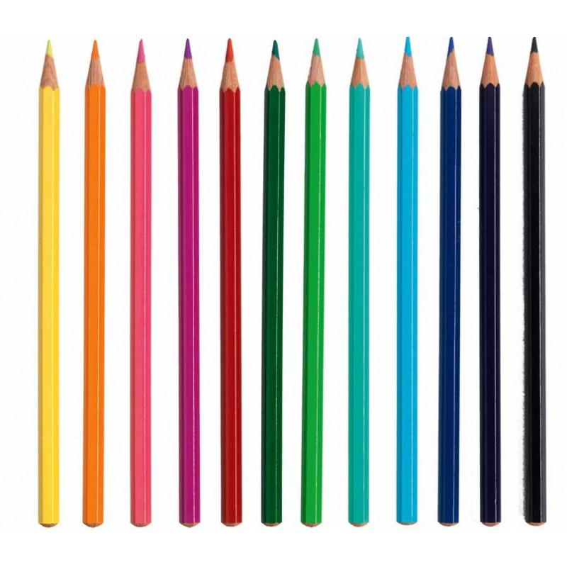 acheter mini grafic 12 crayons de couleur djeco go t. Black Bedroom Furniture Sets. Home Design Ideas