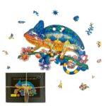 Puzzle bois - caméléon aventurier