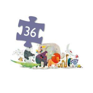 Puzzle 36 Pièces - Maxi Géant - La parade des Animaux - Djeco